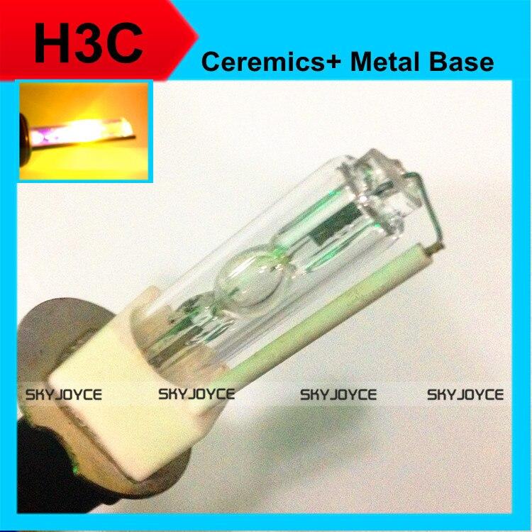 2Xhid xenon bulb H3C ceramics xenon hid bulb H3C 30000K-3000K gold yellow 12V 35W H3C metal holder base xenon white xenon lamp