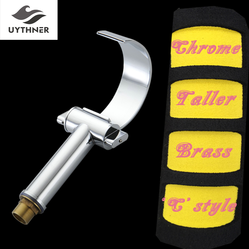 Uythner Deck Mounted Taller Bathroom Basin Faucet Arc Spout Dual Handles Mixer Tap Chrome Finished цена