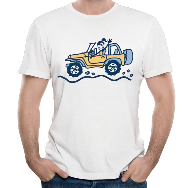 98f85965 Men's Life Is Good on jeep Cotton Top Shirts Comfortable Print Scoop Neck  Basic Tees