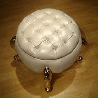 Full Leather Change Shoes Stool Neo Classical Sofa Stool High Grade Low Ottoman Imitation Drill Buckle