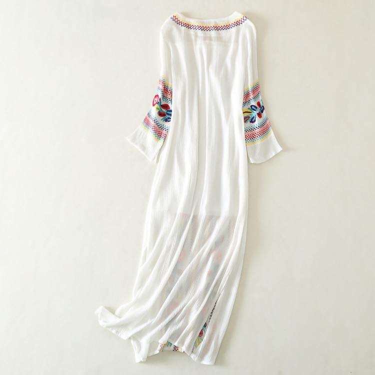 Baratos Linen dress bordado blanco rojo floral patrón borlas mujeres ...