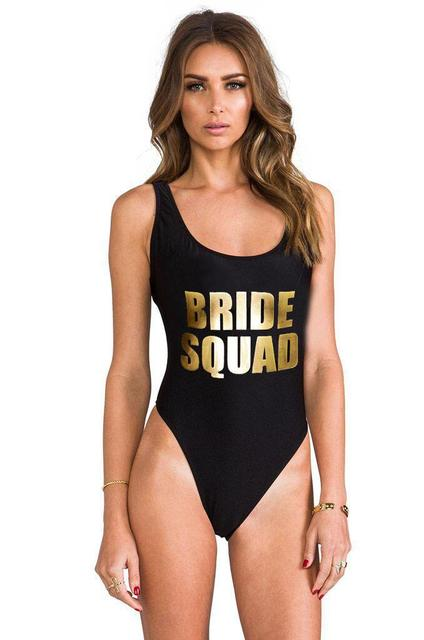 337f3a63af538 Bride Squad One Piece Swimsuit Gold Lettering Bathing suit bachelorette swimsuits  bridal party suits-in Body Suits from Sports   Entertainment on ...