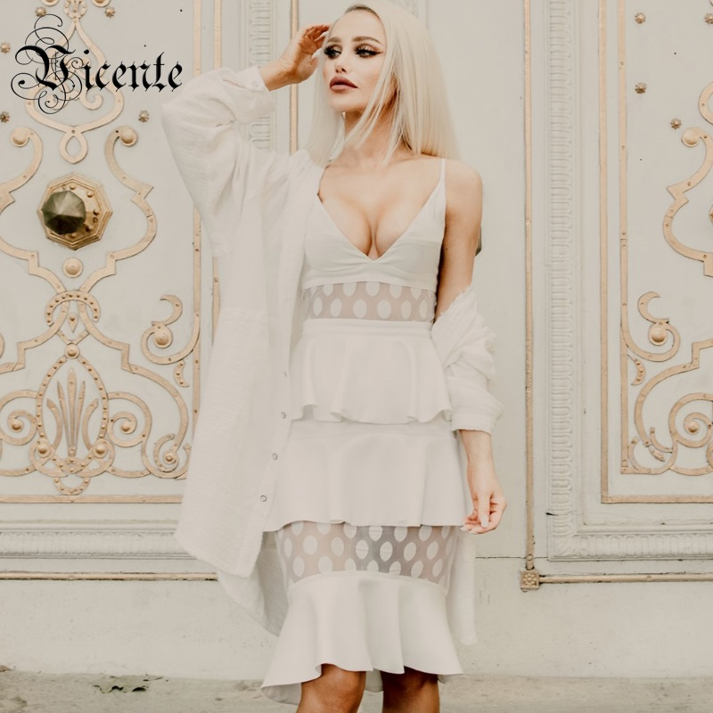 Vicente All Free Shipping 2019 Hot Dot Mesh Splicing Spagehtti Strap Ruffles Design Sexy V Neck