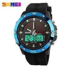 Skmei hombres de doble pantalla solar alarma cronógrafo reloj deportivo digital impermeable de cuarzo relojes de pulsera de moda 1064