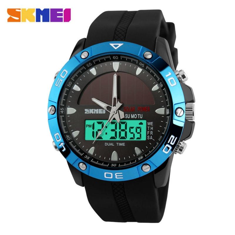 SKMEI Men Solar Dual Watches Fashion Digital Sport Watch Chronograph Alarm Waterproof Quartz Wristwatches Relogio Masculino