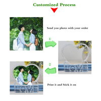 Customized Crystal Glass Photo Frame Personalized Round Shape Diy Tabletop Decor Wedding Birthday Valentines Souvenir Gift