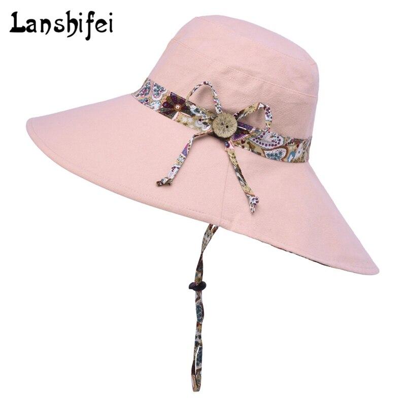 Women Summer Sun Hats Wearable Double-side Wooden Button Sunhats Outdoor Anti-UV Sunshade Beach Sun Caps Bonnet For Lady 5colors