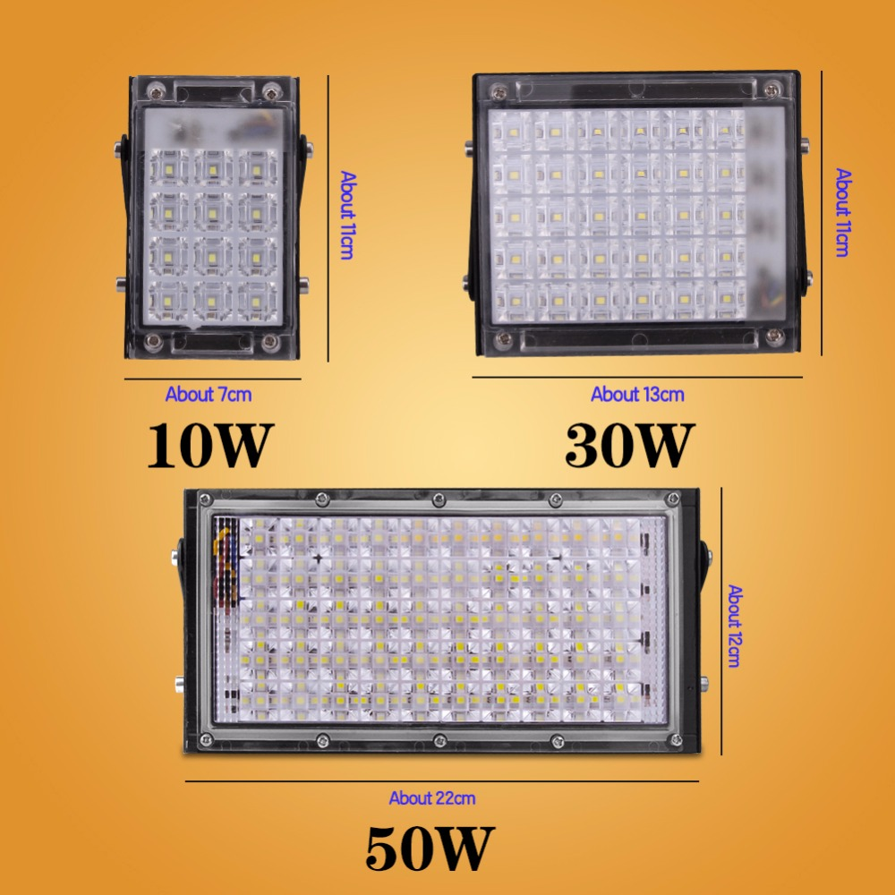Projecteur Led Exterieur Rgb 50w Led Flood Light 10w 20w 30w 50w Floodlight Led Spotlight Outdoor Lighting Projector Reflector Wall Lamp Ac 220v Garden Square