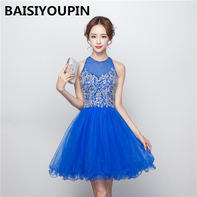 b4c1db0e6 Hermosos Vestidos para Adolescentes 2017 Vestido De 15 Anos Curto Azul Cortos  Vestidos de Fiesta Baratos