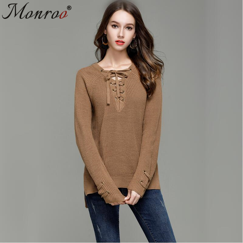 Women Lace Up Jumper Sweater Ladies Long Sleeve Knitted Sweater ...