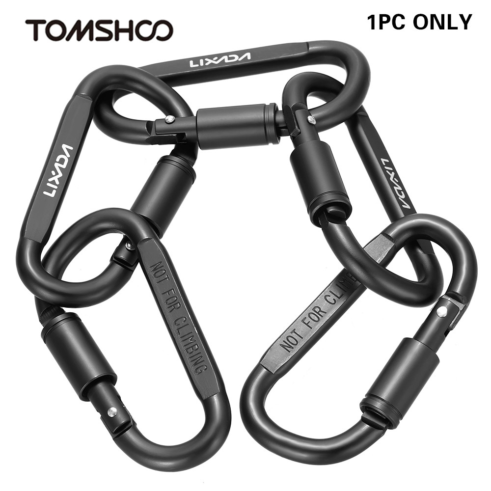 Lixada Aluminum Alloy Climbing D-ring Locking Carabiner Screw Hook Buckle Keychain