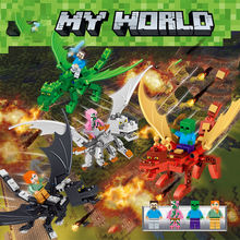 4in1 Assembly Dragon Minecrafted My Mountain Cave Worlds lepinings Compatible with Legoing Model Building Blocks DIY Toys Bricks(China)