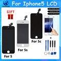 Класса AAA Без Мертвых Пикселей ЖК-Дисплей для Iphone5 5S 5c Сенсорный ЖК-Экран Digitizer Ассамблеи Замена Жк черный белый
