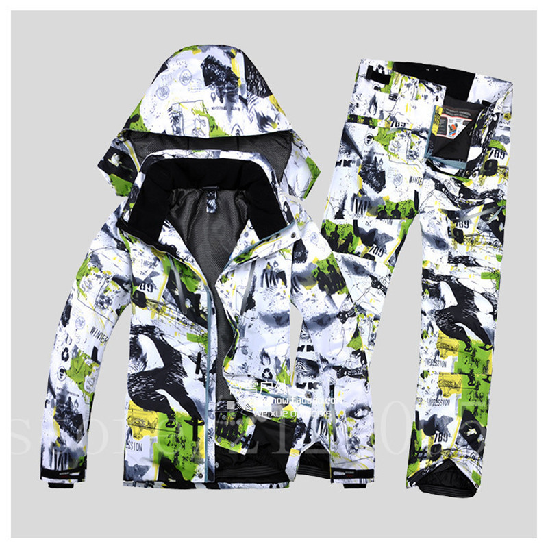 Free Shipping New Men's Ski Suit, Thickened And Warm, Waterproof And Windbreaker Ski Jacket Snowboarding Jacket +pant