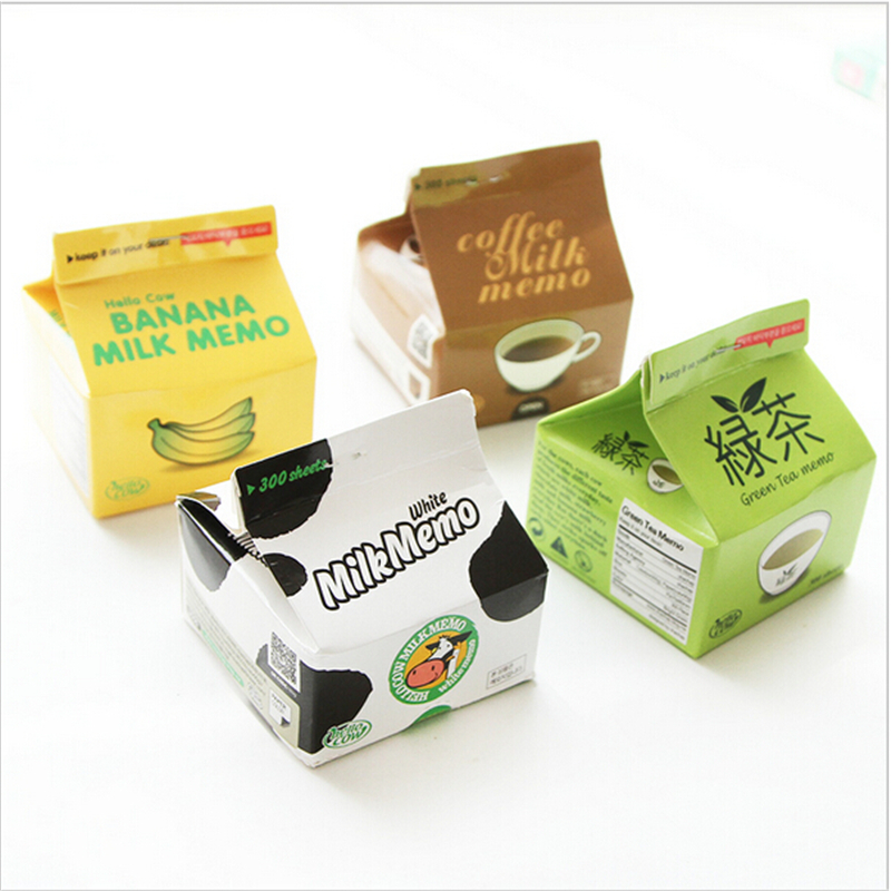 4 pcs/Lot Green tea note paper Coffee Milk Banana memo pad Post-it Guest book Stationery Office School supplies mini green pepper style memo pad note paper cyan 150 page