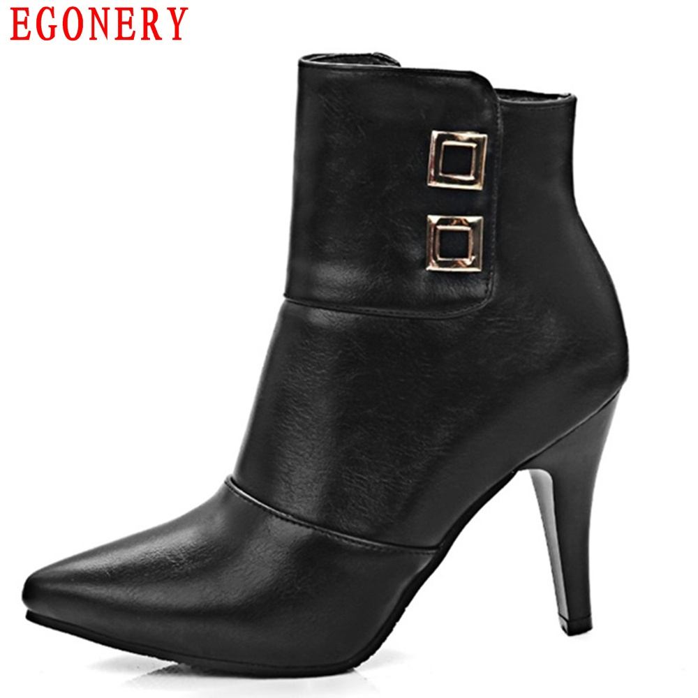 EGONERY Pointed Toe Thin High Heels Beige Faux Leather Zipper Fashion Womens Ankle Boots Shoes egonery quality pointed toe ankle thick high heels womens boots spring autumn suede nubuck zipper ladies shoes plus size