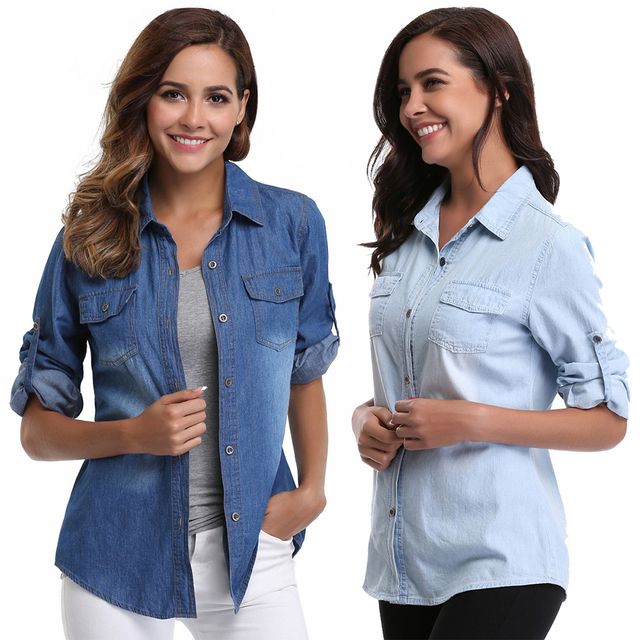 928ded99807a2 Casual Solid Denim Shirt Women Washed Rolled Long Sleeve Point Collar Button  Down Tops w 2 Chest Flap Packets Autumn And Winter