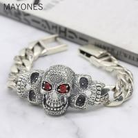 Men Bracelet Real 925 Sterling Silver Jewelry Men Women Inlaid Natural Stone Punk Rock Skull Charm Chain Bracelet Bangle Gifts