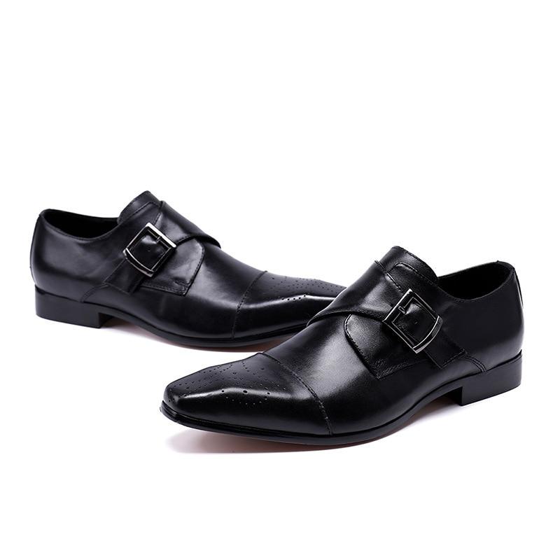 De Solo Británico Transpirable Negocios Hombres Tendencia Cuero Zapatos Tallado Puntiagudos Bullock Vestir Color Sólido Los H5165pwq