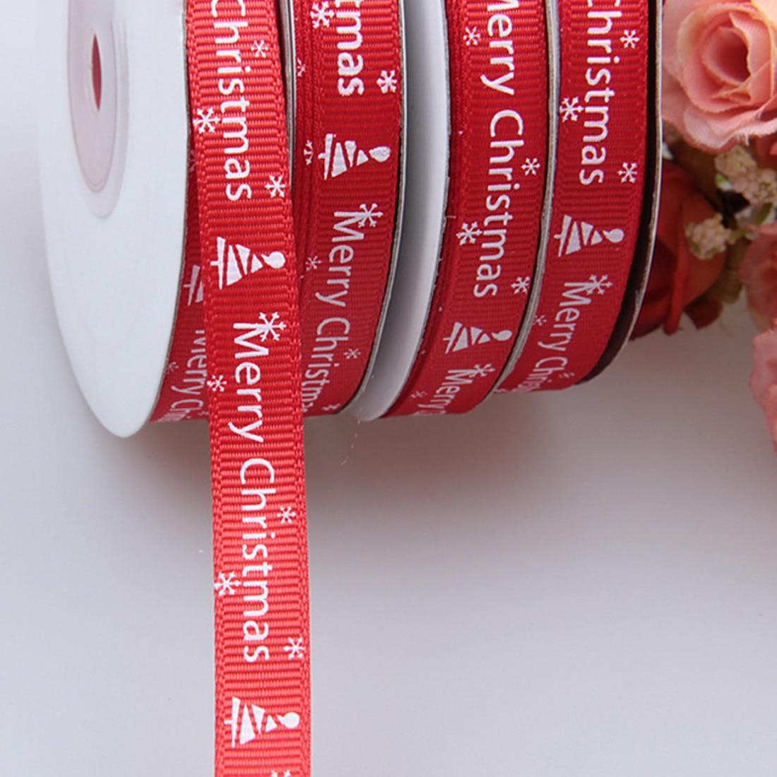 Home 25 Yards/1cm Red Thread Printed Ribbon Handmade Merry Christmas Gift Wrap Ribbon DIY Decoration Material
