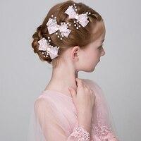 Księżniczka Różowy/White Lace Bowknot Barrettes Symulowane Pearl Ozdoby Do Włosów Stroik Nastolatki Party Dziewczyny Kwiat Włosów Klipy Hairgrip