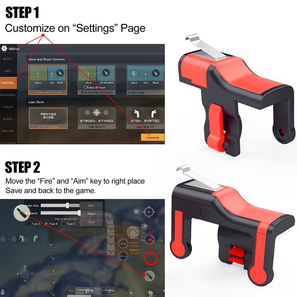 Mobile Game Joystick Trigger L1R1 Controller Fire Button Aim key Smart phone for PUBG rules of survival Mobile shooter Triggers in Gamepads from Consumer Electronics