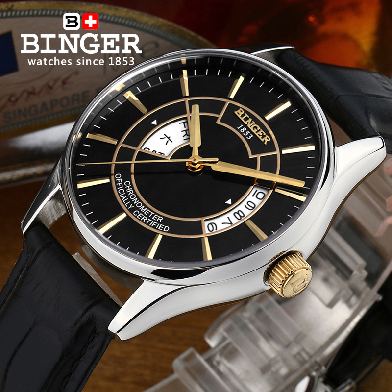 Wrist Watches Male Switzerland Mechanical Men Watch Automatic Binger Luxury Brand Sapphire Japanese Movement Men's Watch B5007 switzerland binger watch men 2017 luxury brand automatic mechanical men s watches sapphire wristwatch male reloj hombre b1176g