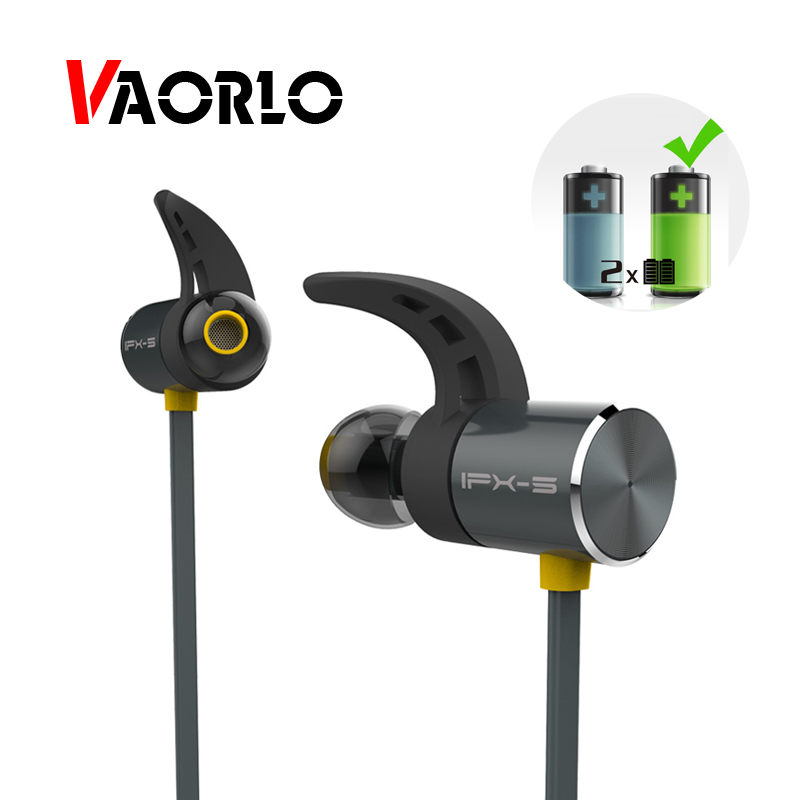 VAORLO IPX5 Waterproof Sports Bluetooth Headphones Magnetic Headset Wireless Stereo Headphone With Mic For Mobile phone BX343