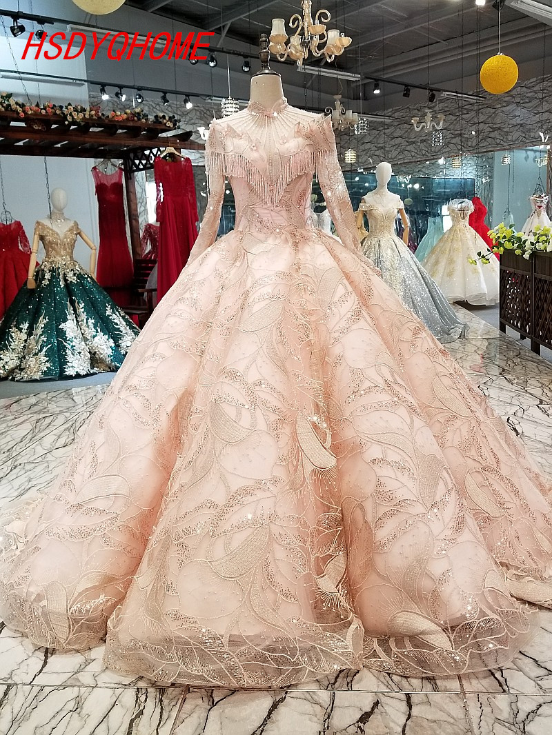 HSDYQHOME Amazing Pink Beading   Evening     dresses   2018 Luxury Prom   Dresses   Ball gown Vestidos Long Sleeve   Evening   party gown