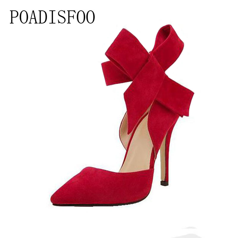 2017 New Pointed High Heels Female Fine With Single Shoe Shallow Mouth Sexy Bow women shoes Nightclub .ZL-621 2017 spring and summer new women s shoes female pointed shallow mouth slope with high heel shoe side empty leather woman s shoes