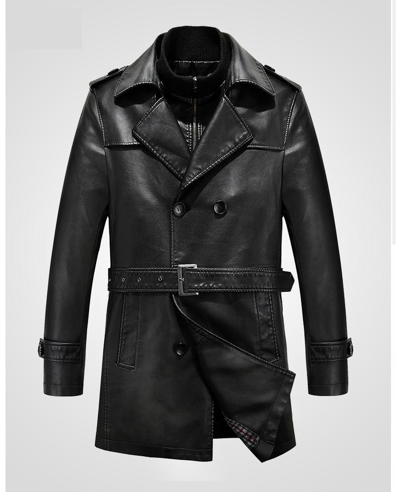 Autumn Winter Men 's Leather Trench Coat Long Double Breasted Brand Sheepskin Fur Coat Jaqueta Couro Leather Jacket