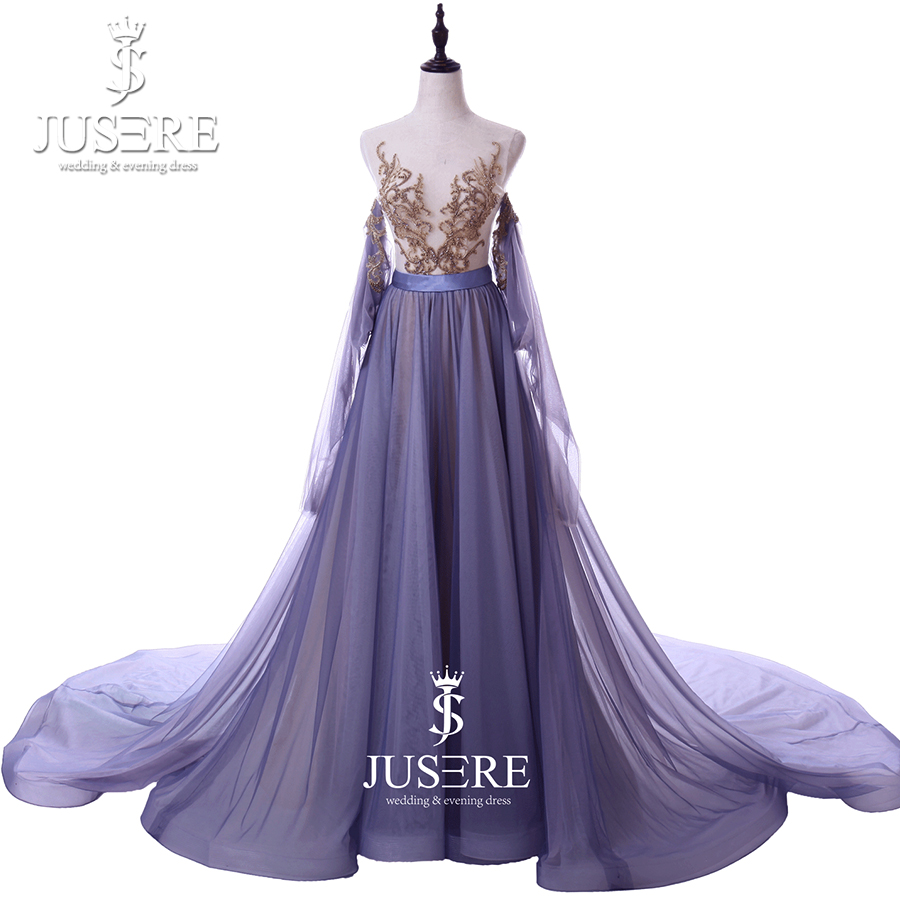 Illusion Shoulder Round Neckline Long Side Sleeves Golden Embroidery Lace A  line Chiffon Purple Elegant Evening e5a737b96a43