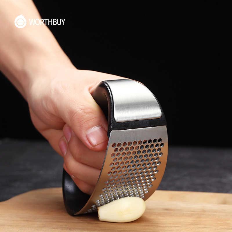 WORTHBUY Alho Aço Inoxidável Imprensa Manual Moedor Ralador de Alho Ginger Imprensa Acessórios de Cozinha Triturador de Alho Helicóptero