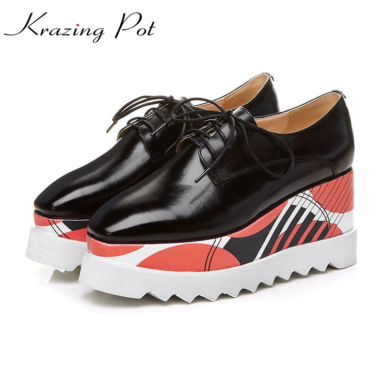 Krazing Pot full grain leather shoes woman square toe British school wedges increased pumps causal colorful decoration shoes L39