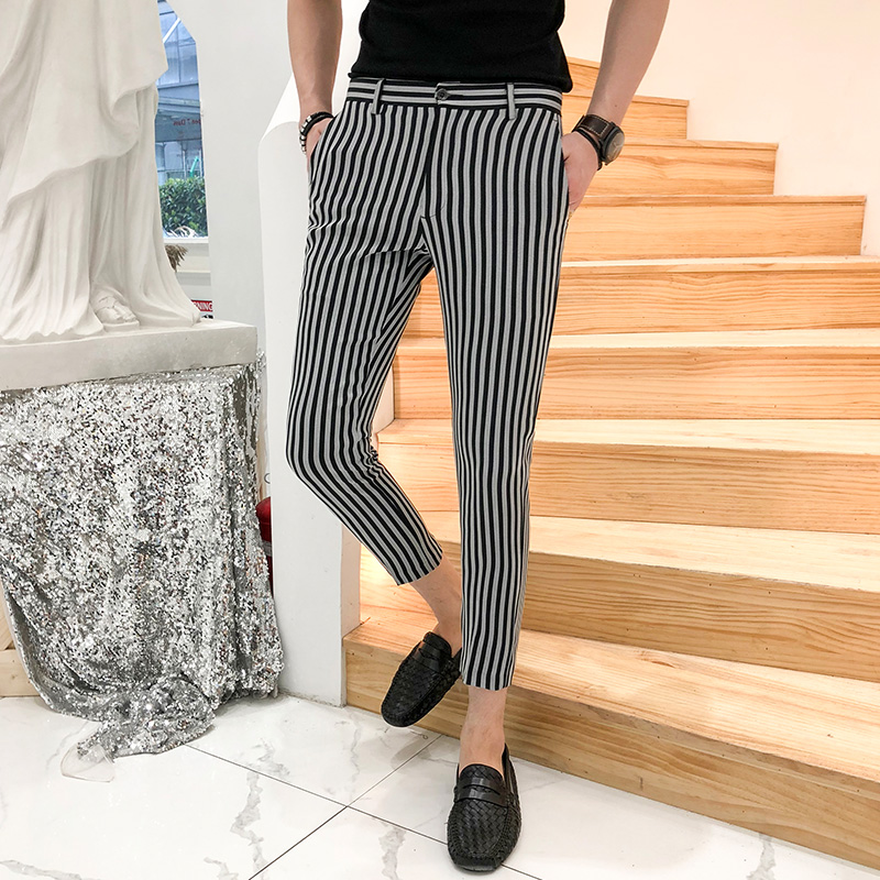 2018 New Fashion Mens Casual Pants High Quality Brand Business Work Pants Male Clothing Striped Formal Wear Trousers Suit Pant