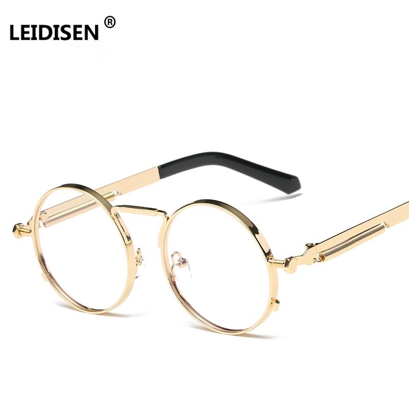 LEIDISEN High Quality Golden Round Glasses Frames Women Brand Eyeglasses Frame Men Clear Lens Retro Classic Eyewear Oculos