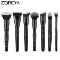 Zoreyaブランド7ピース/ロット黒化粧ブラシセット用女性化粧品ツールナイロン毛ブラシウッドハンドルプロフェッショナルブラシ