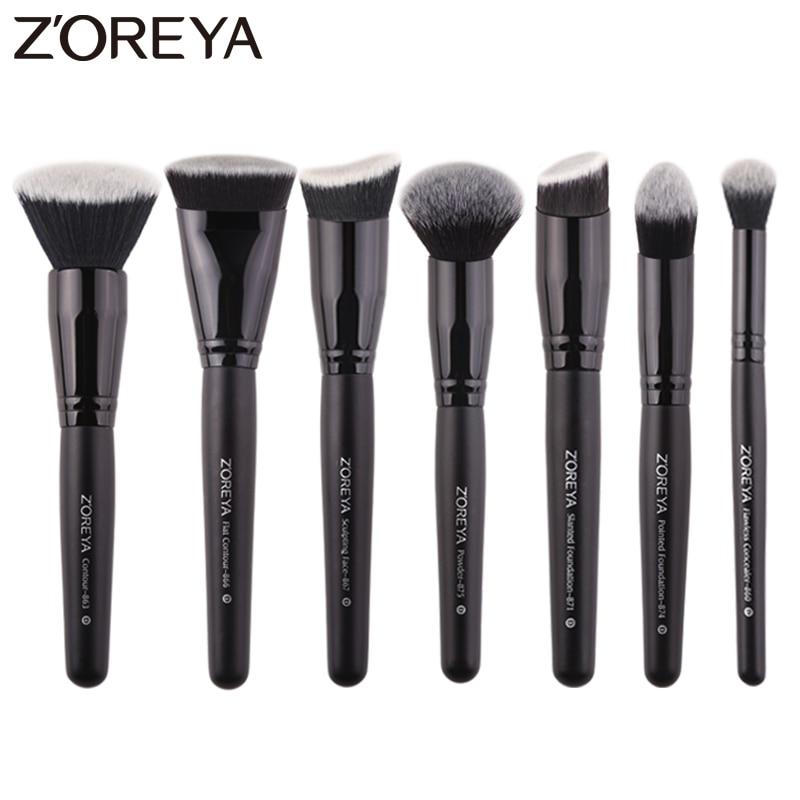 Zoreya Marque 7 pièces/lots noir brosses de maquillage pour les femmes Cosmétique outil Nylon brosses à cheveux manche en bois pinceaux Professionnels