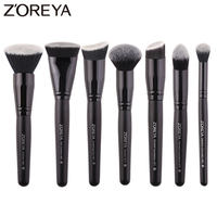 Zoreya Brand 7pieces Lots Black Makeup Brushes Set For Women Cosmetic Tool Nylon Hair Brushes Wood