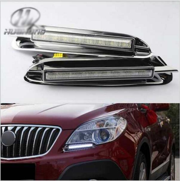 ФОТО Hireno Car DRL Waterproof ABS 12V Daytime Running Lights for Opel MOKKA 2013-15 Fog lamp 2PCS