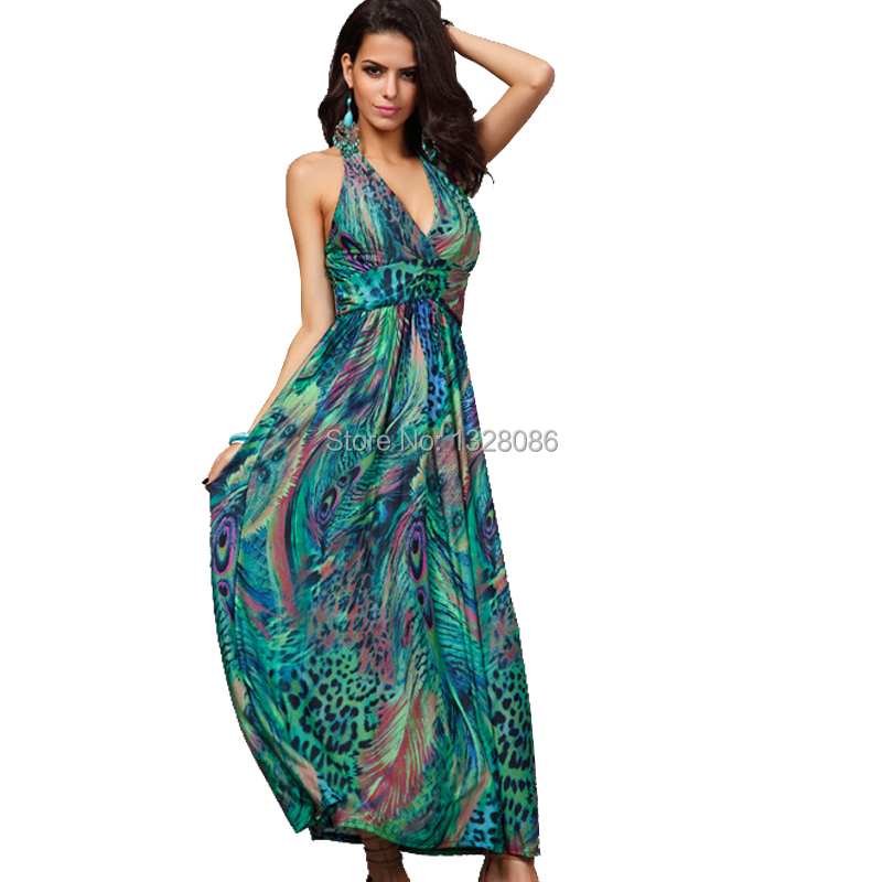Maxi Dress Peacock Promotion-Shop for Promotional Maxi Dress ...