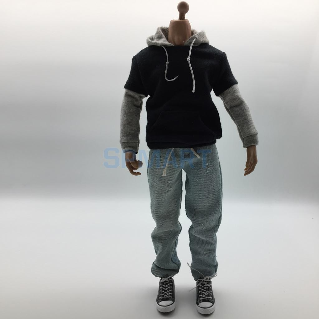 1/6 Scale Mens Clothes Black and Gray Hoodie Denim Jeans Beanie Hat Canvas Shoes Set for 12 Action Figure Accessories Hot Toys