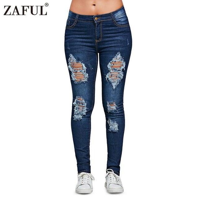 3681595e159 ZAFUL Womens Jeans Mid Waist Skinny Ripped Pencil Pants Female Distressed  Jeans Slim Fit bottom denim trousers