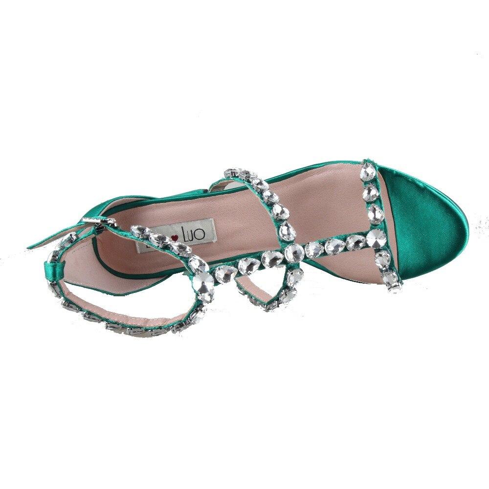 CHS969 مخصص اليدوية الزمرد الأخضر كريستال الراين أحذية Strappy و اللباس صندل كتلة كعب عالية الكعب النساء أحذية الزفاف-في كعب عالي من أحذية على  مجموعة 3