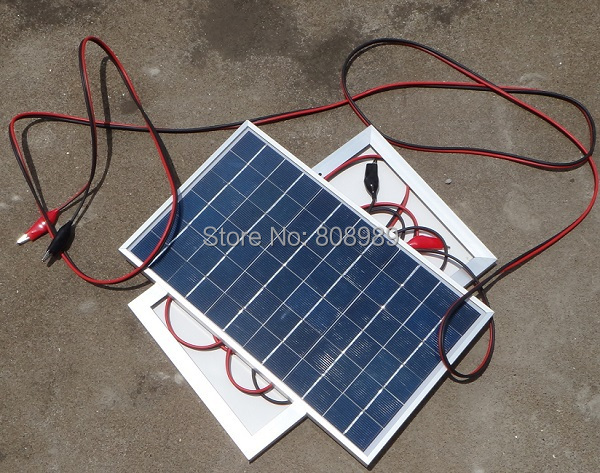 BUHESHUI 10W Polycrystalline Solar Panel+Crocodile Clip For 12V Car/Boat/Motor Battery P ...