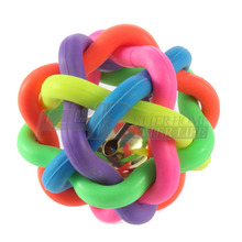 1pcs colorful ball pet toy dog toy cat toy with bell for small medium large dog