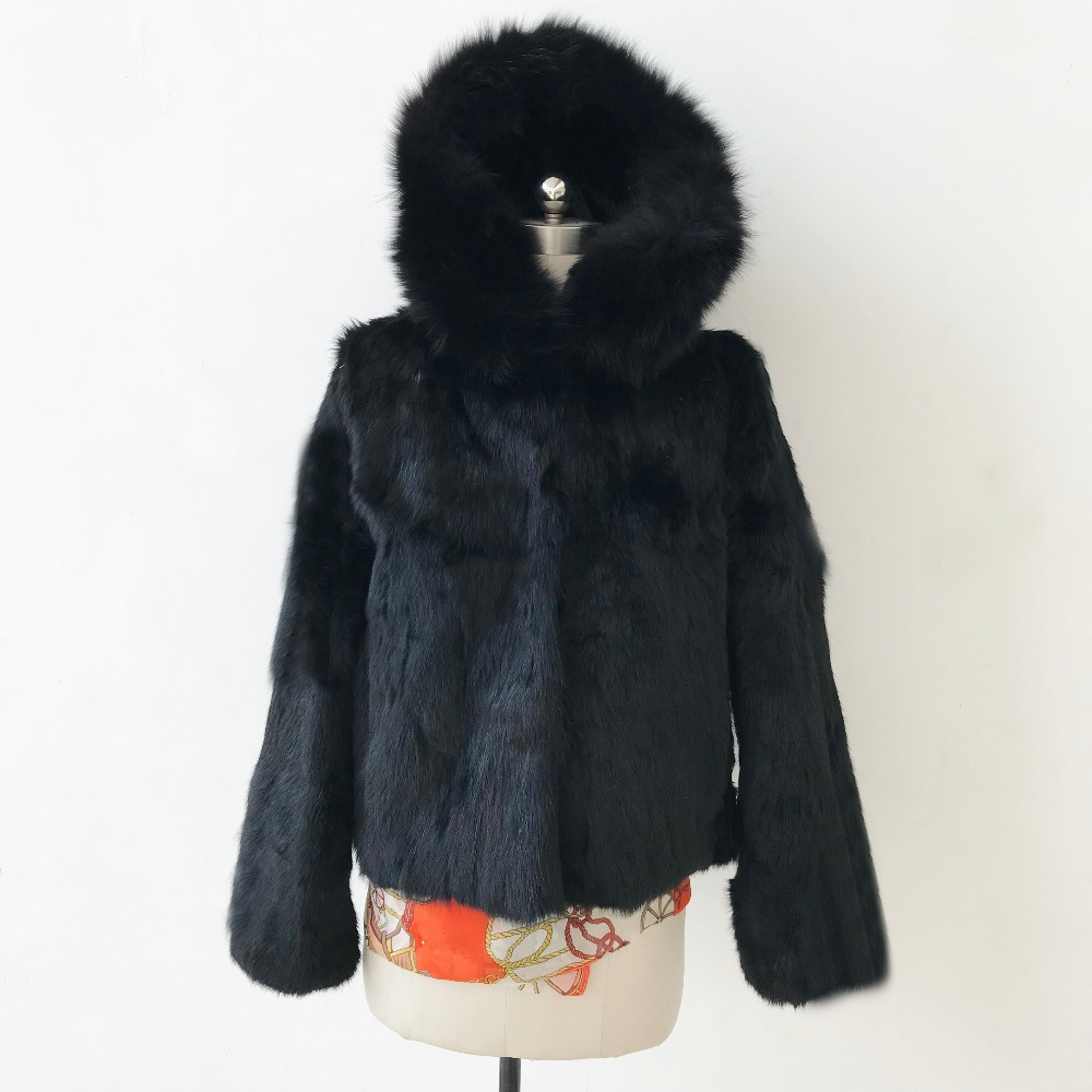 2019 New Short Real Fur Coat Hood Natural Fox Fur Collar Plus Size Genuine Rabbit Fur Jacket Tsr454