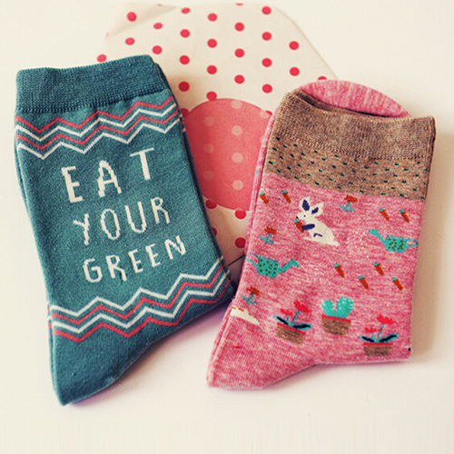 SMT206New New Women's 2 Pairs Cartoon Animal Cotton Socks Autumn Winter Warm Long Hosiery 8 Styles
