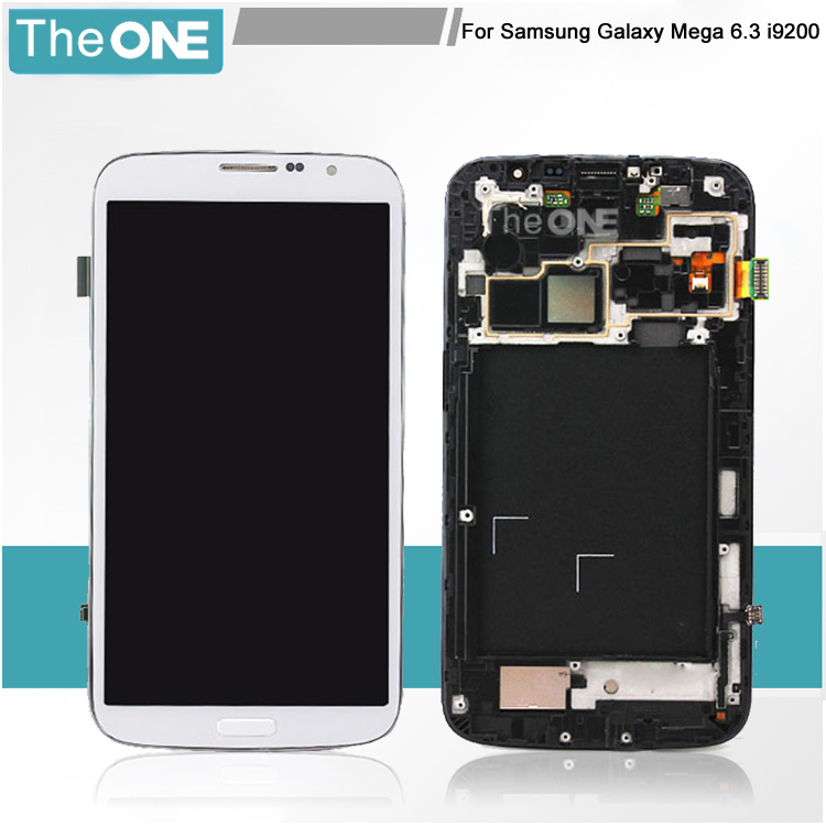 ФОТО Free Shipping LCD Display Screen Digitizer with Frame For Samsung GALAXY Mega 6.3 i9200/i9205/i527 White/Black