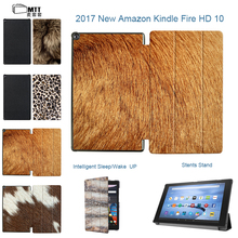 MTT Print Skin Fur For Amazon Kindle Fire HD10 Filp Tri-Folding PU Leather Smart Cover for Amazon Fire HD 10 2017 Tablet Case